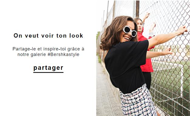 Bershka incite les clients à utiliser un hashtag crée pour l'occasion sur les réseaux sociaux.