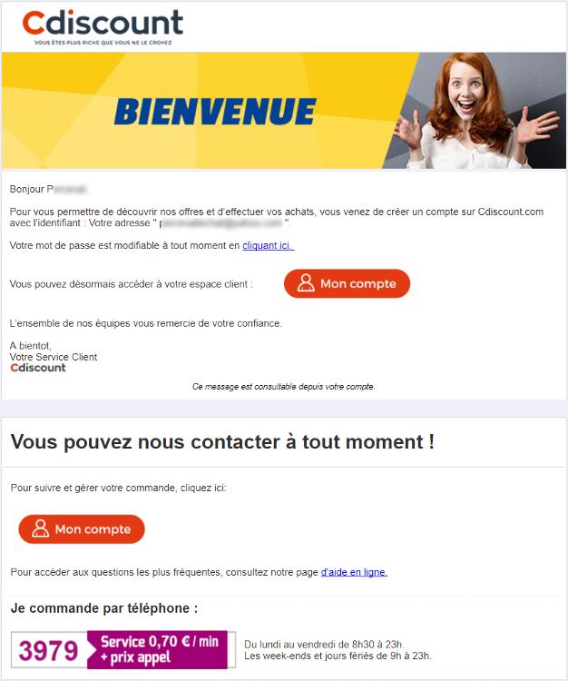 L'email de confirmation de compte de Cdiscount fait passer un message de réassurance.