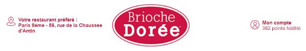 Le header de Brioche Dorée reprend des informations clients.