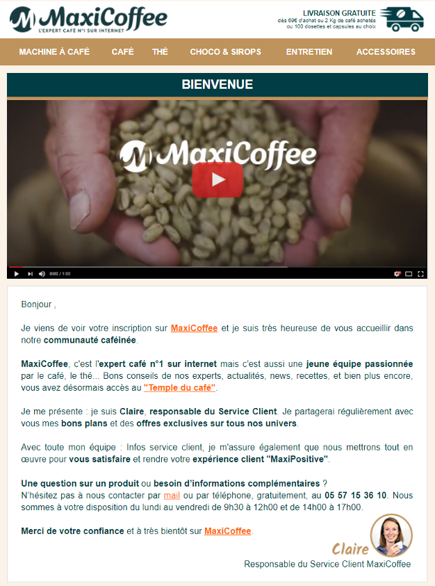L'email de bienvenue de MaxiCoffee est signé par un membre de l'équipe.