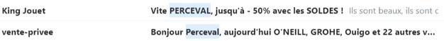 Deux objets d'emails personnalisés