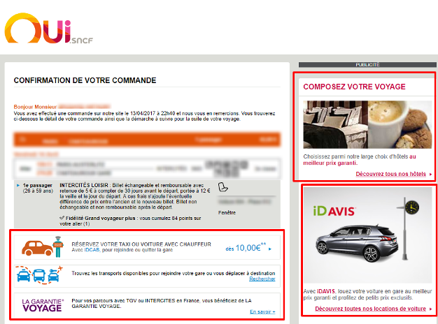 La SNCF inclut dans ses emails de nombreuses publicités à son profit.